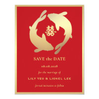 Golden Koi and Double Happiness | Save the Date Invitation