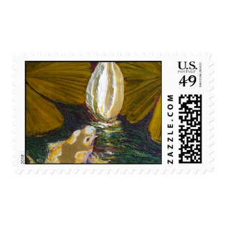 Golden koi and Lilly Pond Postage Stamp