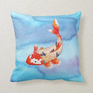 Golden Koi Carp Fish Watercolor Unusual Throw Pillow