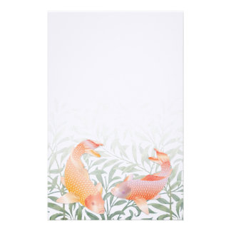 Golden Koi & Green Water Plants Small Stationary Stationery