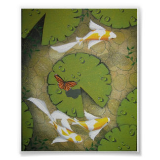 golden koi painting print