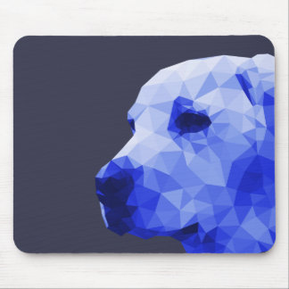 Golden Lab Low Poly Art in Blue Mouse Pad