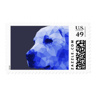 Golden Lab Low Poly Art in Blue Postage