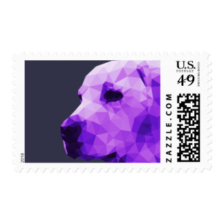 Golden Lab Low Poly Art in Purple Postage