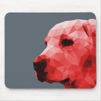 Golden Lab Low Poly Art in Red Mouse Pad