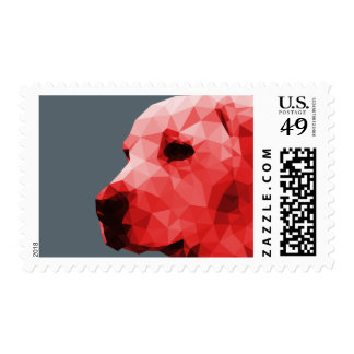 Golden Lab Low Poly Art in Red Postage