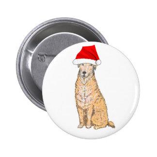 Golden Labrador in Santa Hat Button, customize