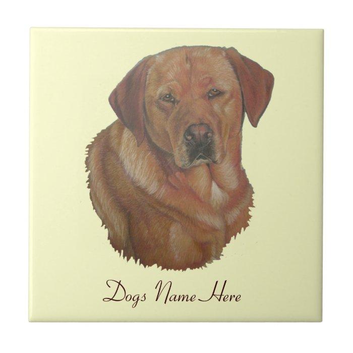 golden labrador retrieve dog portrait art tile