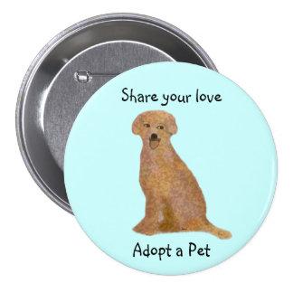 Golden Labrador Retriever Adoption Button