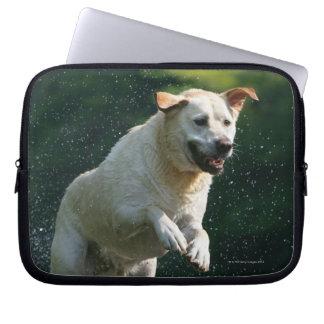 Golden Labrador Retriever jumping into river Laptop Computer Sleeves