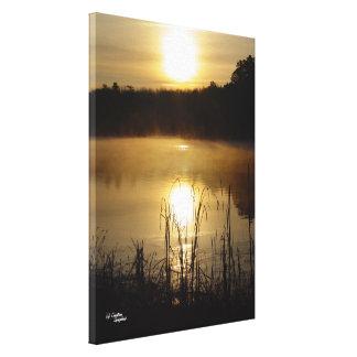 Golden lake sunrise Stretched Canvas Print