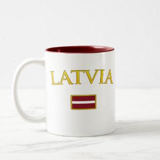 Golden Latvia Two-Tone Coffee Mug