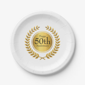 Golden Laurel Wreath 50th Anniversry Paper Plate