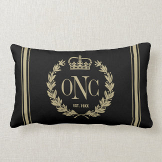 Golden Laurel Wreath Monogrammed Logo Pillow
