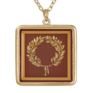 Golden Laurel Wreath Square Pendant Necklace