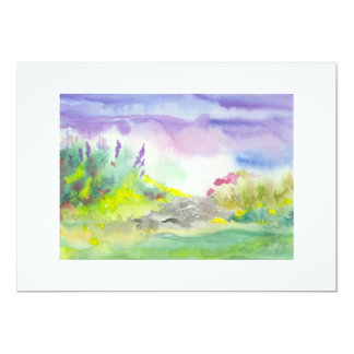 Golden Lavender Wildflower Landscape Painting Card