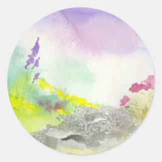 Golden Lavender Wildflower Landscape Painting Classic Round Sticker