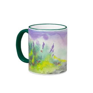 Golden Lavender Wildflower Landscape Painting Mugs