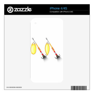 Golden leaf and oval shape design spinner fishing decals for iPhone 4S