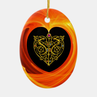 GOLDEN LEAF - CELTIC HEART CERAMIC ORNAMENT