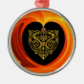 GOLDEN LEAF - CELTIC HEART METAL ORNAMENT