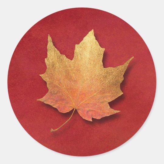 Golden Leaf Classic Round Sticker