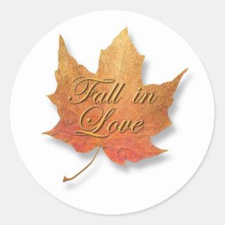 Golden Leaf Fall in Love. Classic Round Sticker