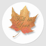 Golden Leaf Fall in Love. Round Stickers