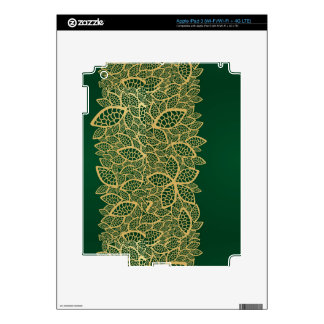 Golden leaf lace on green background iPad 3 decals