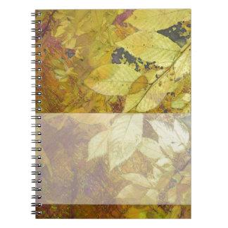 Golden Leaf Light Spiral Note Books