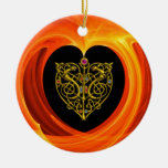GOLDEN LEAF Double-Sided CERAMIC ROUND CHRISTMAS ORNAMENT