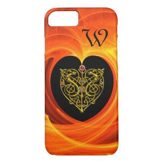 GOLDEN LEAF WITH CELTIC KNOTS,Black Orange Yellow iPhone 7 Case