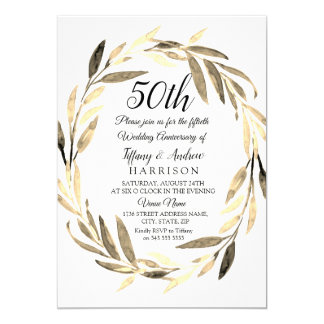 Golden Leaf Wreath 50th Wedding Anniversary Invite