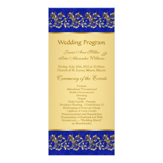 Golden leafy swirls on blue Wedding program card