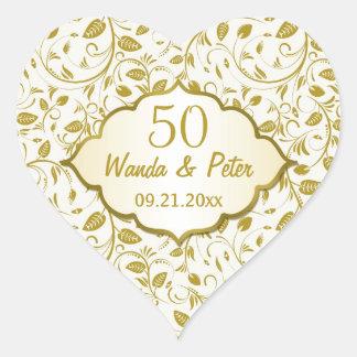 Golden leaves 50th Wedding Anniversary Heart Sticker