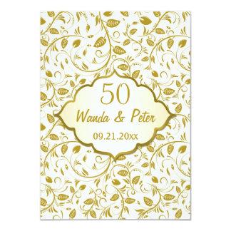 Golden leaves 50th Wedding Anniversary 4.5x6.25 Paper Invitation Card