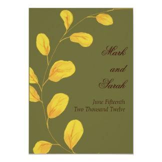 Golden Leaves Eucalyptus Invitation