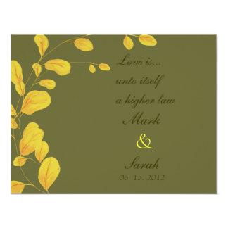 Golden Leaves Eucalyptus RSVP 4.25x5.5 Paper Invitation Card