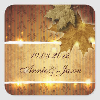 Golden Leaves glamorous Fall Wedding favor Square Sticker