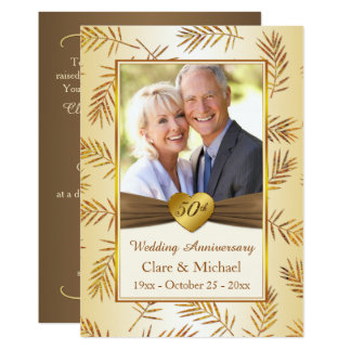 Golden leaves, heart 50th Wedding Anniversary Invitation