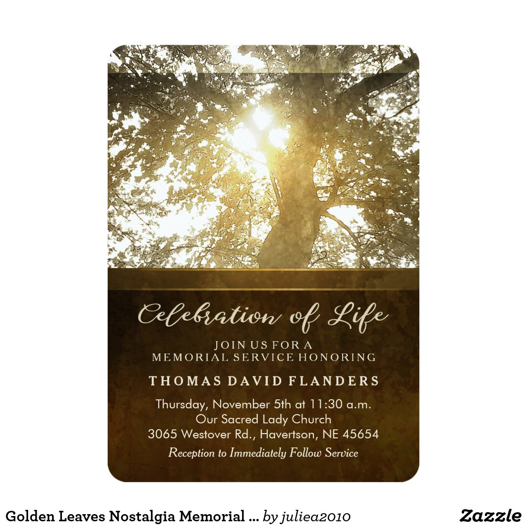 Golden Leaves Nostalgia Memorial Service Invite
