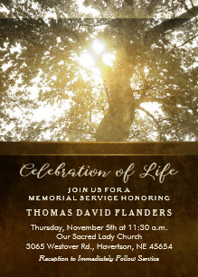 memorial service invitations zazzle