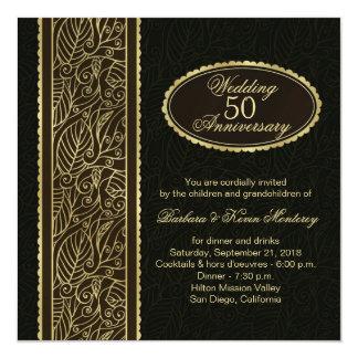 Golden leaves on black 50th Wedding Anniversary 5.25x5.25 Square Paper Invitation Card