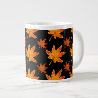 Golden Leaves on Black Giant Coffee Mug