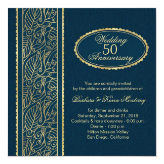 Golden leaves on blue 50th Wedding Anniversary Personalized Invite