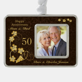 Golden leaves on brown 50th Wedding Anniversary Christmas Ornament