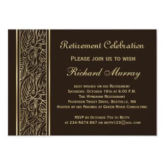 Golden leaves on brown Retirement Party Invites