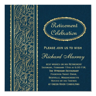 Golden leaves on dark blue Retirement Party Card