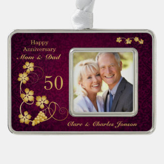 Golden leaves on purple 50th Wedding Anniversary Christmas Ornament
