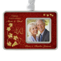 Golden leaves on red 40th Wedding Anniversary Christmas Ornament